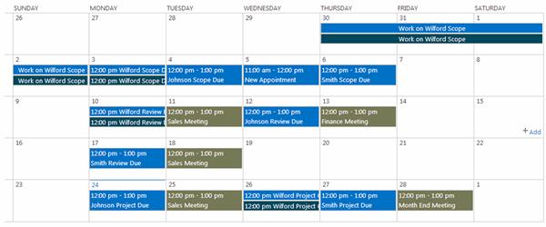 Overlaid SharePoint Calendar