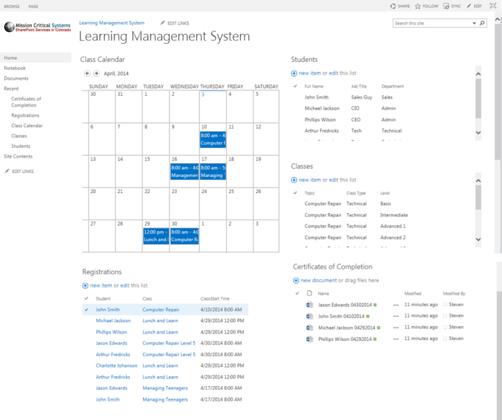 SharePoint LMS System