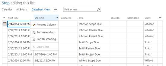 Calendar Datasheet View