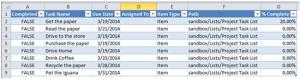 Task List in Excel